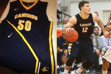 Canisius new blue uniform on the left, Billy Baron in last year's on the right.